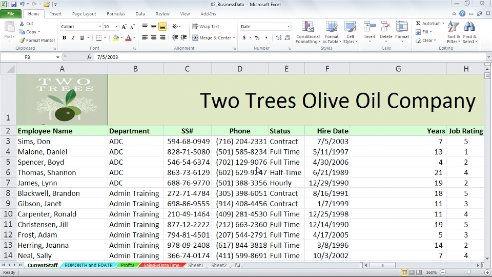 Welcome: Excel 2010: Working with Dates and Times