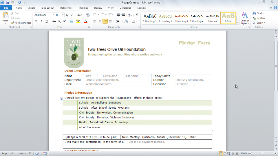 Welcome: Word 2010: Forms in Depth