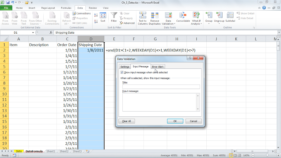 Welcome: Excel 2010: Data Validation in Depth