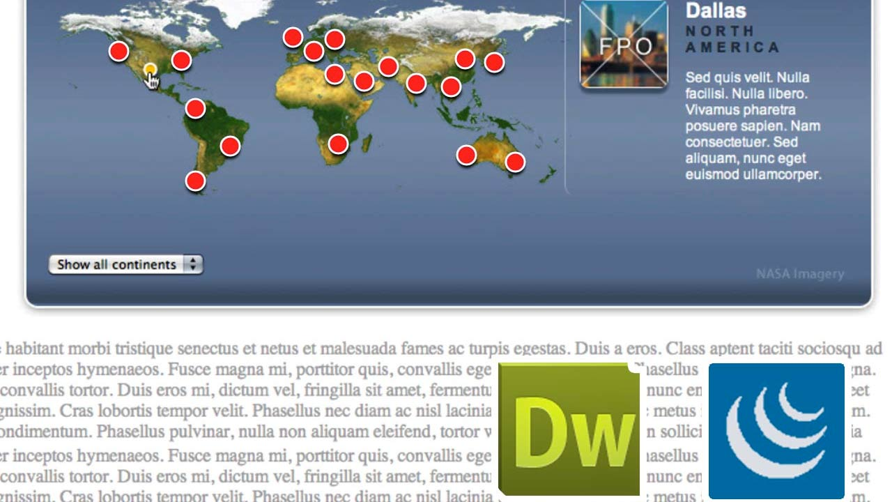 Previewing the project across browsers and devices: Create an Interactive Map with jQuery and Dreamweaver