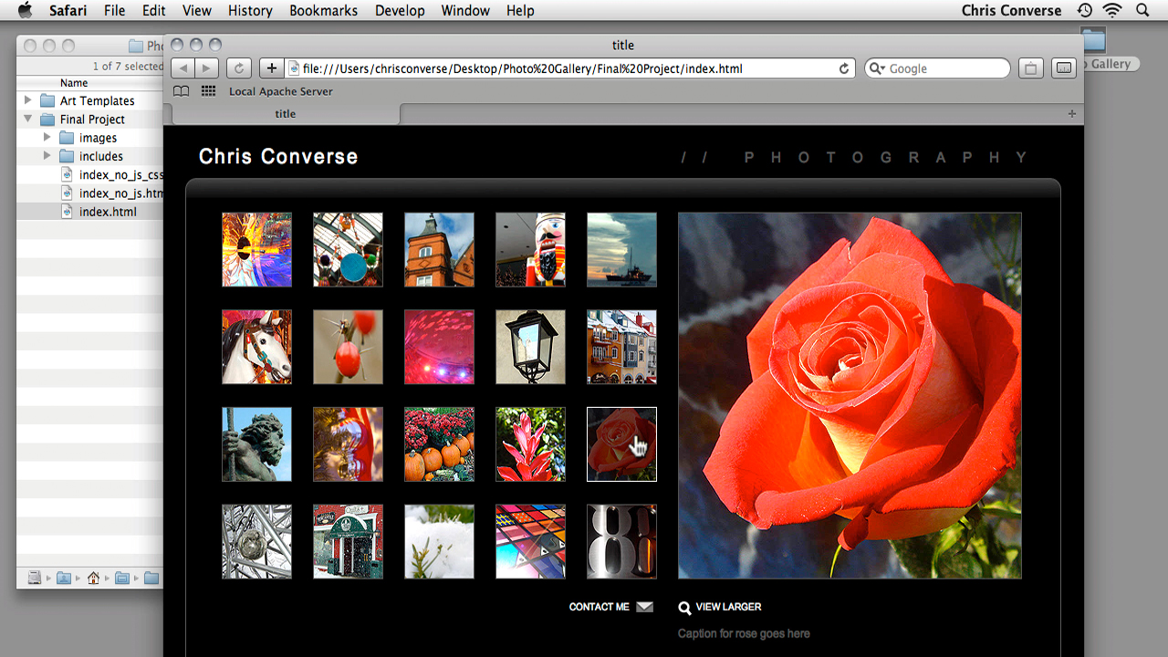 Previewing the project across browsers and devices: Create an Interactive Photo Gallery with jQuery and Dreamweaver