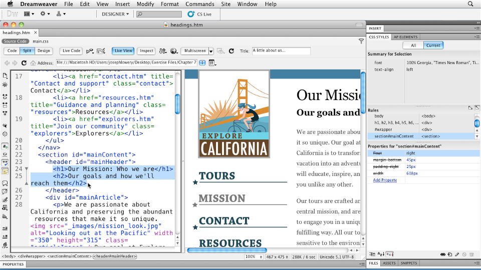 Welcome: Typography with CSS in Dreamweaver