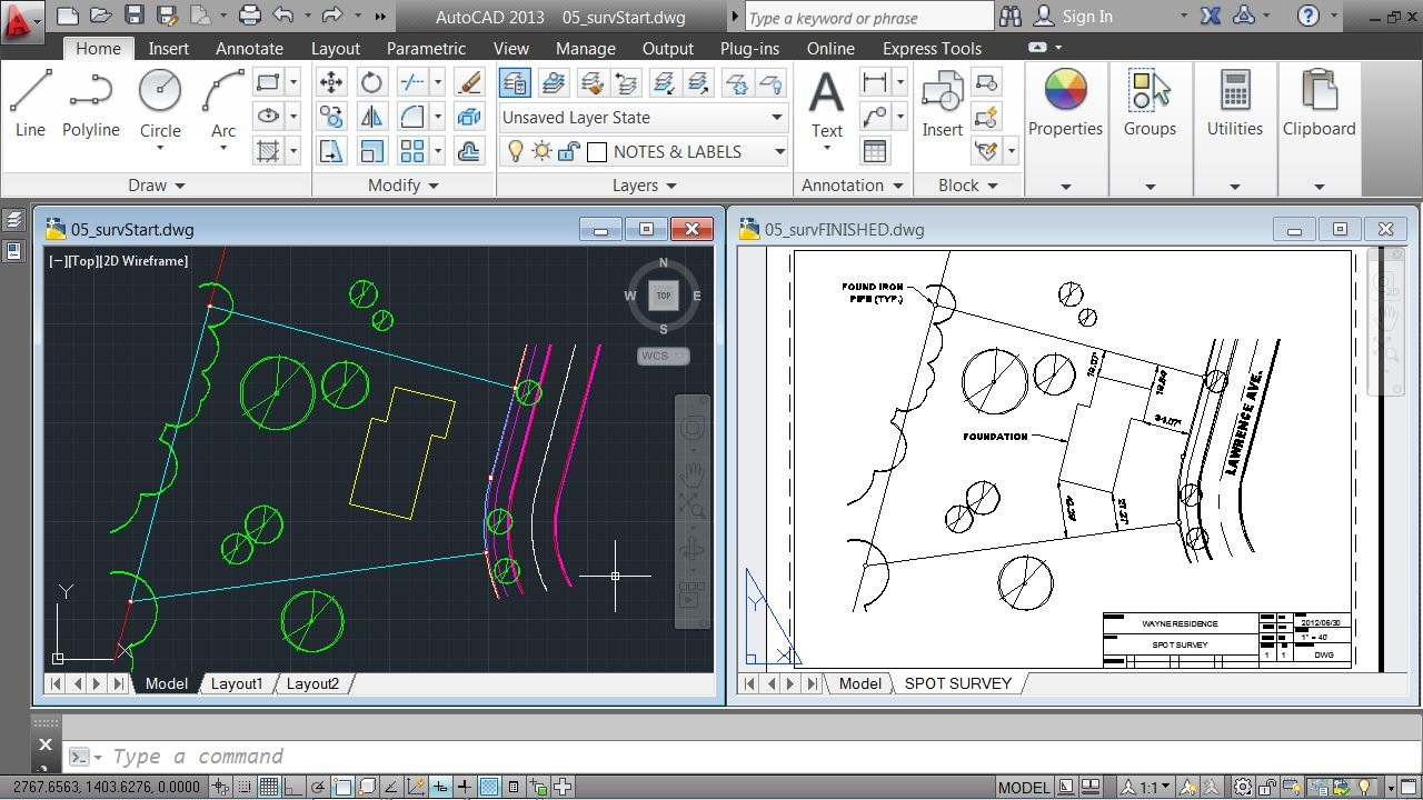 how to draw a house plan in autocad 2013