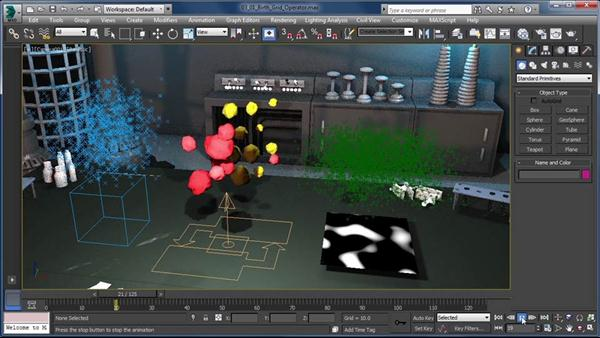 Add collision detection particle flow in 3ds max for 3ds max course