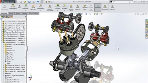 course illustration for Modeling a Motorcycle Engine with SOLIDWORKS