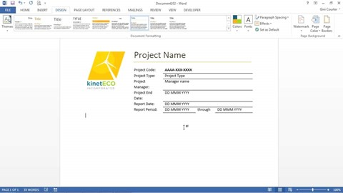 Word 2013 Essential Training – Project Front Page Design in Word