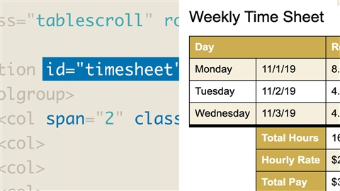 course illustration for HTML: Tables