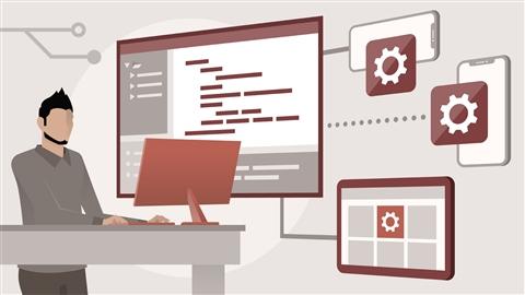 course illustration for iOS 13 Development Essential Training: 1 Fundamentals, UI, and Architecture