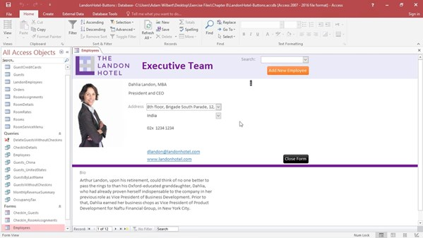 how to create a form in access 2016