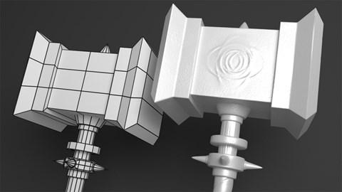 course illustration for Sculpting a Game Asset in Blender