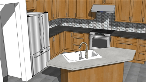 SketchUp Kitchen Design & Add doors from the 3D Warehouse pezcame.com