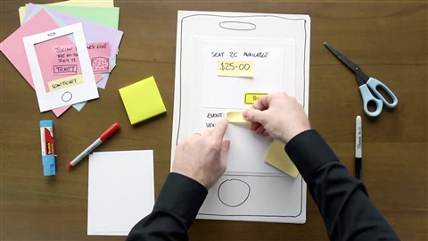 course illustration for UX Design: 6 Paper Prototyping