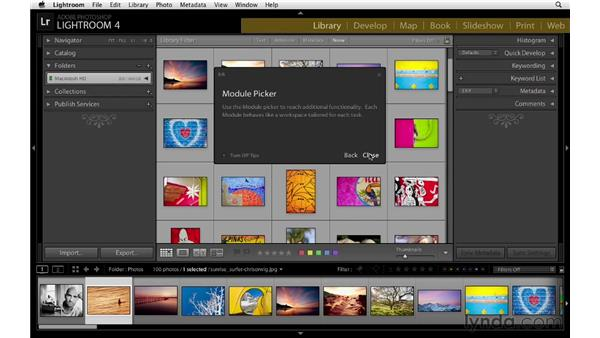 Using module tips: Lightroom 4 Essentials: 01 Organizing and Sharing with the Library Module