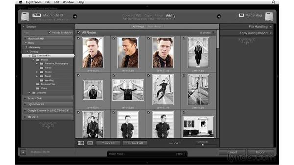 Introducing the Import dialog: Lightroom 4 Essentials: 01 Organizing and Sharing with the Library Module
