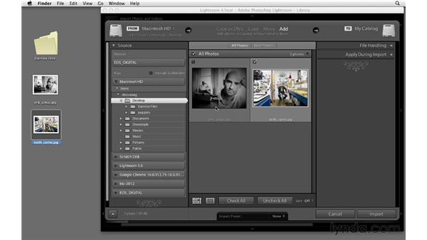 Drag-and-drop importing: Lightroom 4 Essentials: 01 Organizing and Sharing with the Library Module