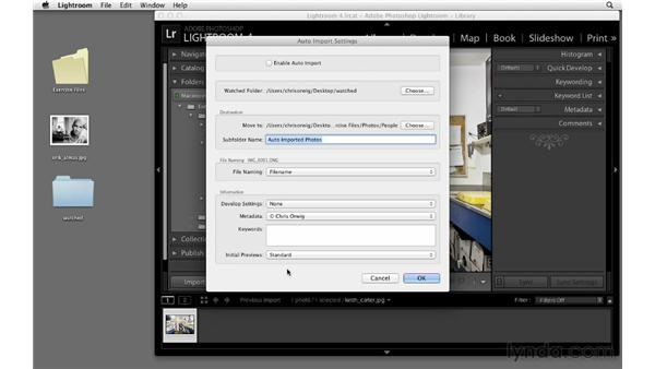 Auto-importing from a watched folder : Lightroom 4 Essentials: 01 Organizing and Sharing with the Library Module