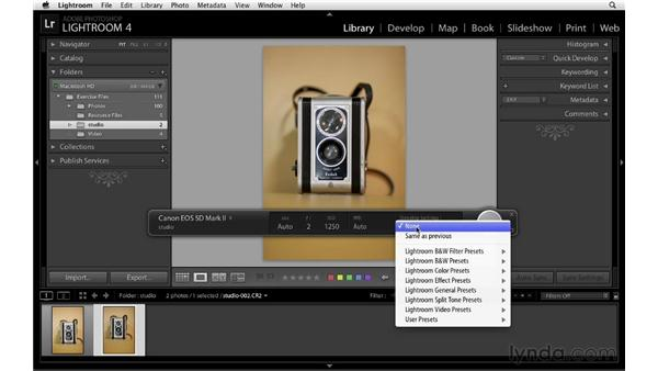 Working with tethered capture: Lightroom 4 Essentials: 01 Organizing and Sharing with the Library Module