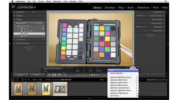 Considering color management with tethered capture: Lightroom 4 Essentials: 01 Organizing and Sharing with the Library Module