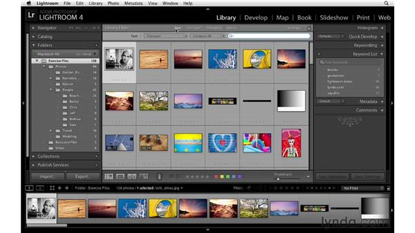 Filtering by type and metadata: Lightroom 4 Essentials: 01 Organizing and Sharing with the Library Module