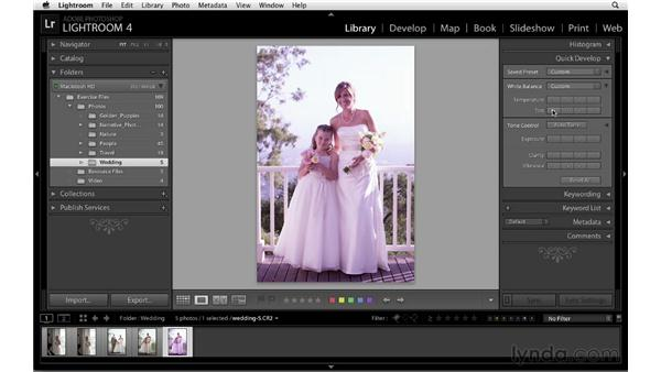 Using Quick Develop: Lightroom 4 Essentials: 01 Organizing and Sharing with the Library Module