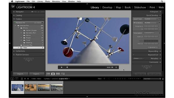 Playing video in Photoshop Lightroom: Lightroom 4 Essentials: 01 Organizing and Sharing with the Library Module