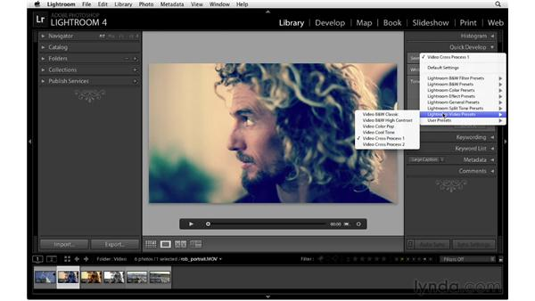 Using presets to edit the color and tone of a video: Lightroom 4 Essentials: 01 Organizing and Sharing with the Library Module