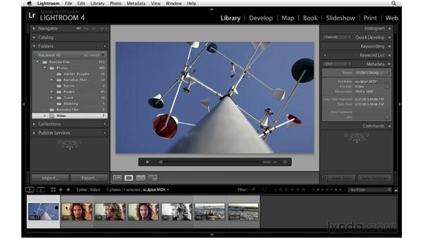 Capturing a still image from a video: Lightroom 4 Essentials: 01 Organizing and Sharing with the Library Module