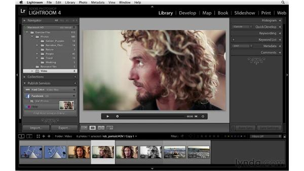 Publishing video to Facebook: Lightroom 4 Essentials: 01 Organizing and Sharing with the Library Module