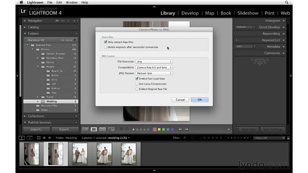 Converting to DNG and the Embed Fast Load Data option : Lightroom 4 Essentials: 01 Organizing and Sharing with the Library Module