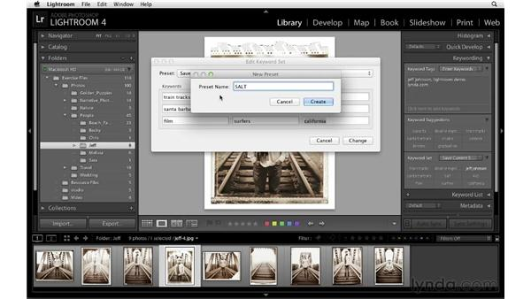 Creating and using keyword sets: Lightroom 4 Essentials: 01 Organizing and Sharing with the Library Module