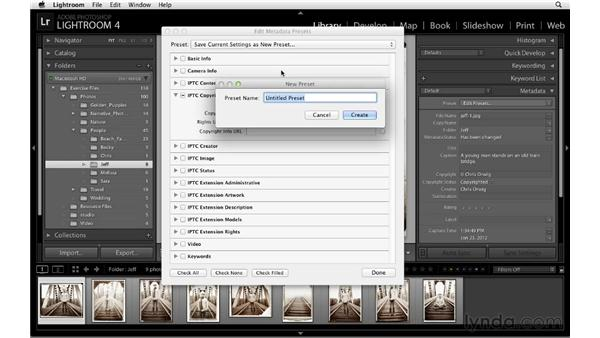 Adding copyright metadata with a template: Lightroom 4 Essentials: 01 Organizing and Sharing with the Library Module