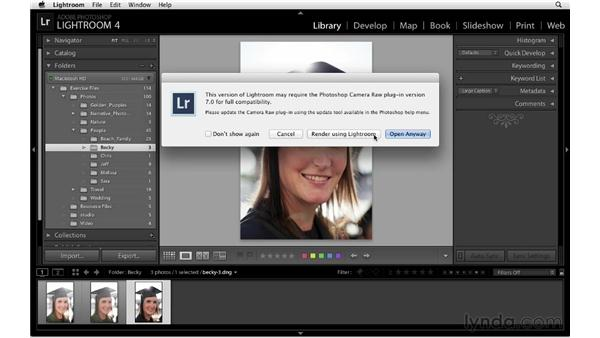 Editing raw photos in Photoshop: Lightroom 4 Essentials: 01 Organizing and Sharing with the Library Module