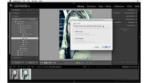 Editing a modified TIFF, PSD, or JPG file in Photoshop: Lightroom 4 Essentials: 01 Organizing and Sharing with the Library Module
