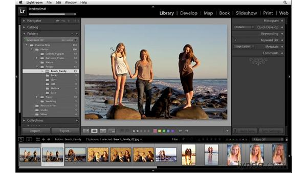 Emailing photographs from Photoshop Lightroom: Lightroom 4 Essentials: 01 Organizing and Sharing with the Library Module