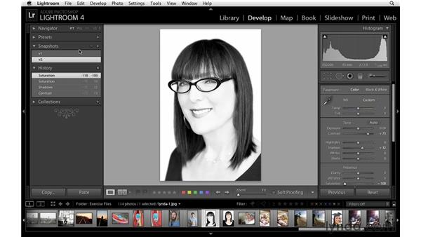 Using the Snapshot and History panels: Lightroom 4 Essentials: 02 Enhancing Photos with the Develop Module