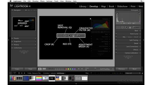 Working with the tool strip: Lightroom 4 Essentials: 02 Enhancing Photos with the Develop Module