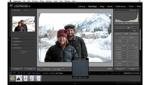 Using the White Balance Selector tool: Lightroom 4 Essentials: 02 Enhancing Photos with the Develop Module