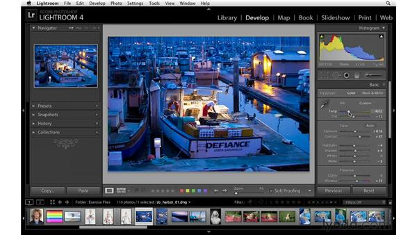 Working with white balance presets and fine-tuning white balance: Lightroom 4 Essentials: 02 Enhancing Photos with the Develop Module