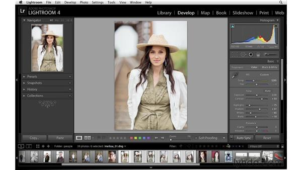 Synchronizing tonal adjustments with multiple images: Lightroom 4 Essentials: 02 Enhancing Photos with the Develop Module