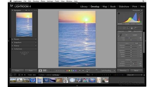 Color creativity with temperature, vibrance, and saturation: Lightroom 4 Essentials: 02 Enhancing Photos with the Develop Module