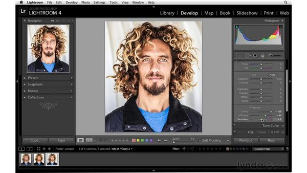 Using clarity in collaboration with vibrance and saturation: Lightroom 4 Essentials: 02 Enhancing Photos with the Develop Module
