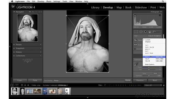 Changing the crop aspect ratio: Lightroom 4 Essentials: 02 Enhancing Photos with the Develop Module