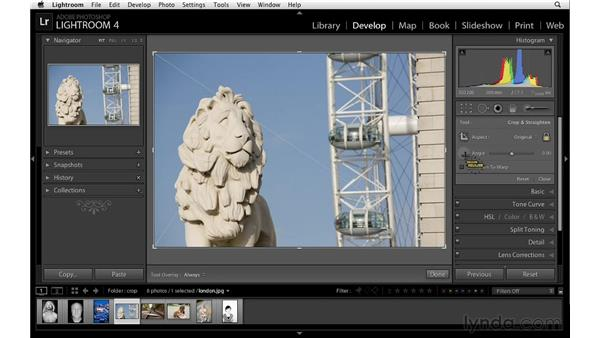 Straightening with the Crop tool: Lightroom 4 Essentials: 02 Enhancing Photos with the Develop Module
