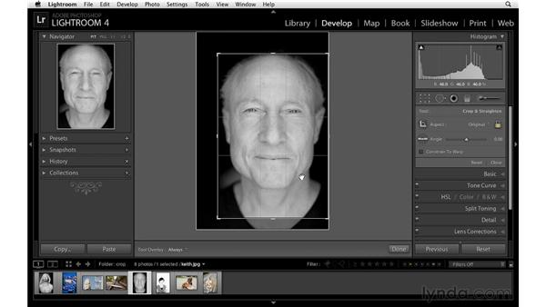 Working with the crop overlay: Lightroom 4 Essentials: 02 Enhancing Photos with the Develop Module