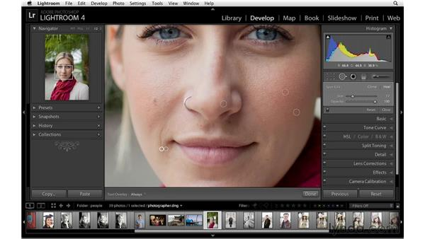 Retouching with the Spot Removal tool: Lightroom 4 Essentials: 02 Enhancing Photos with the Develop Module