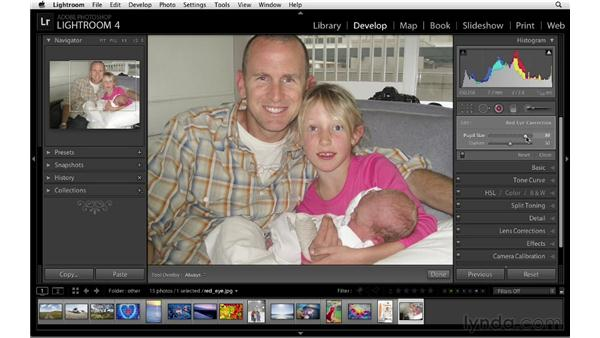 Fixing red-eye: Lightroom 4 Essentials: 02 Enhancing Photos with the Develop Module