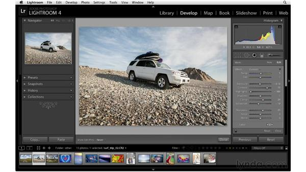 Darkening the sky with the Graduated Filter: Lightroom 4 Essentials: 02 Enhancing Photos with the Develop Module