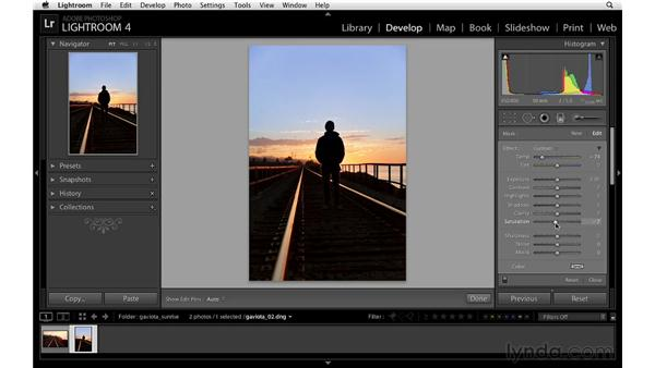 Enhancing a sunrise with the Graduated Filter: Lightroom 4 Essentials: 02 Enhancing Photos with the Develop Module
