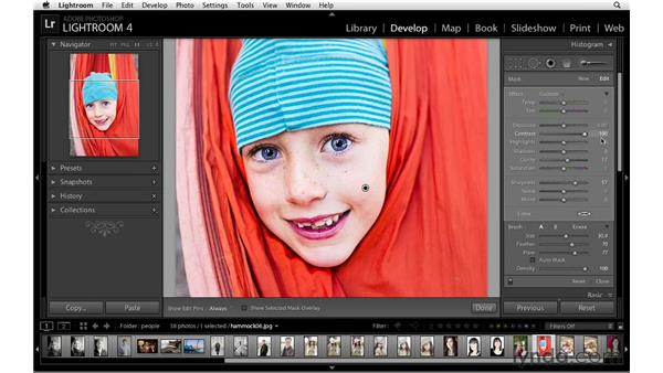 Painting in localized sharpening: Lightroom 4 Essentials: 02 Enhancing Photos with the Develop Module
