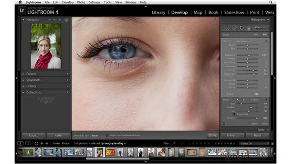 Improving the eyes: Lightroom 4 Essentials: 02 Enhancing Photos with the Develop Module
